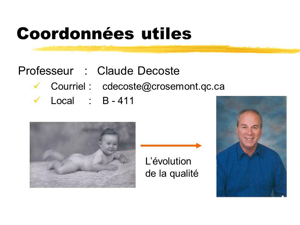 Coordonnées utiles Professeur : Claude Decoste Courriel : cdecoste@crosemont.qc.ca Local : B - 411 L'évolution de la qualité