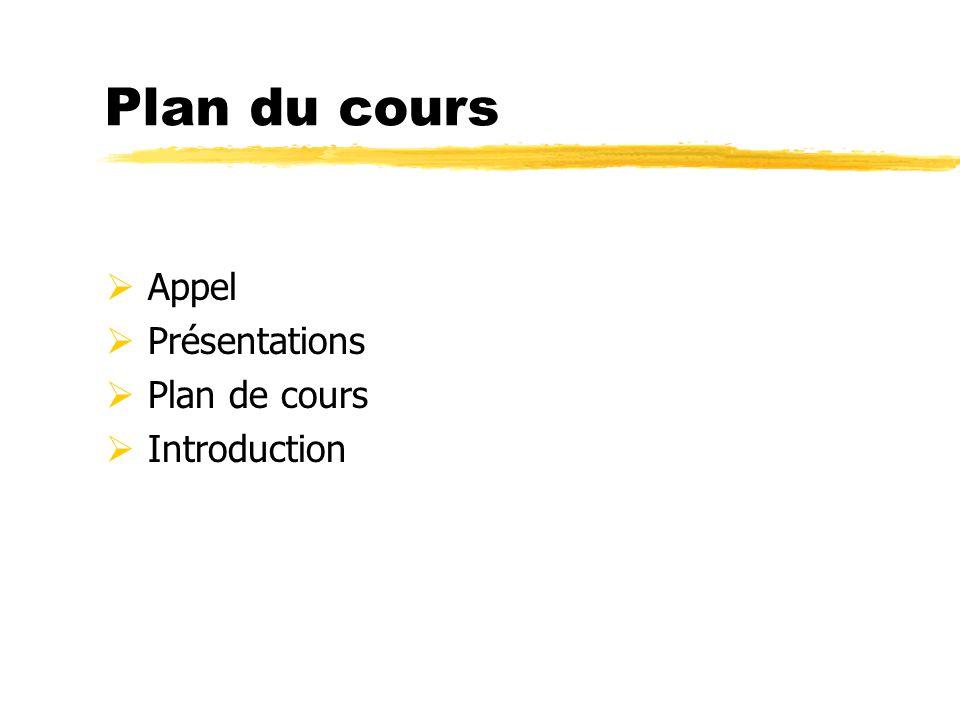 Plan du cours  Appel  Présentations  Plan de cours  Introduction