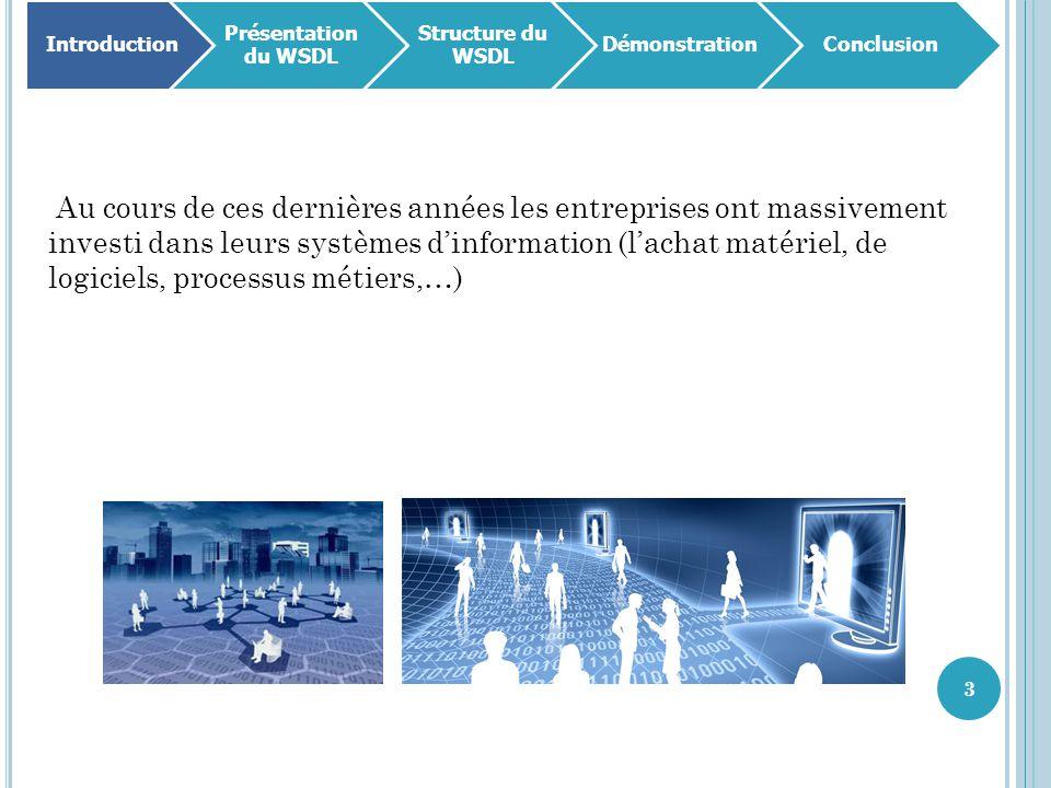 3 Introduction Présentation du WSDL Structure du WSDL DémonstrationConclusion Au cours de ces dernières années les entreprises ont massivement investi