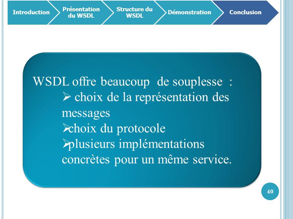 40 WSDL offre beaucoup de souplesse :  choix de la représentation des messages  choix du protocole  plusieurs implémentations concrètes pour un mêm