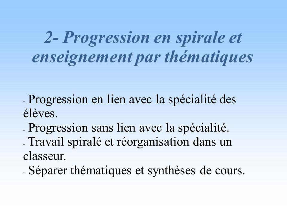 2- Progression en spirale et enseignement par thématiques - Progression en lien avec la spécialité des élèves.