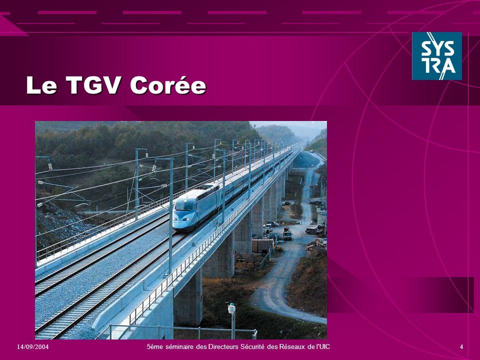 5ème séminaire des Directeurs Sécurité des Réseaux de l UIC 414/09/2004 Le TGV Corée