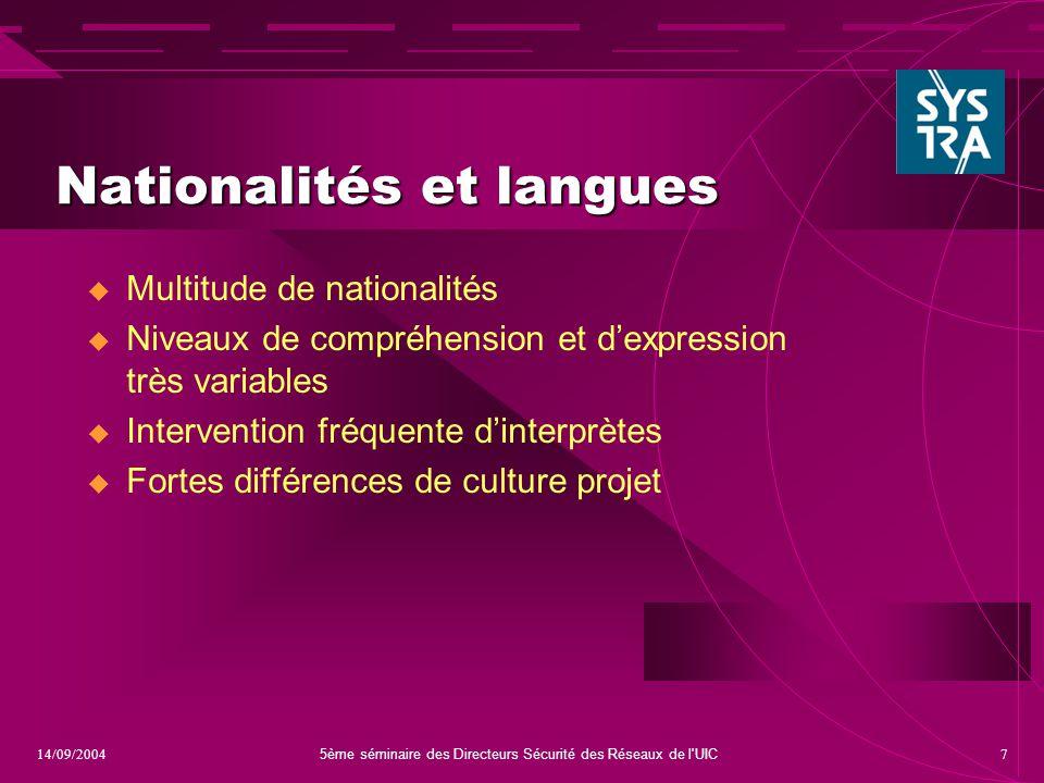 5ème séminaire des Directeurs Sécurité des Réseaux de l UIC 714/09/2004 Nationalités et langues  Multitude de nationalités  Niveaux de compréhension et d'expression très variables  Intervention fréquente d'interprètes  Fortes différences de culture projet