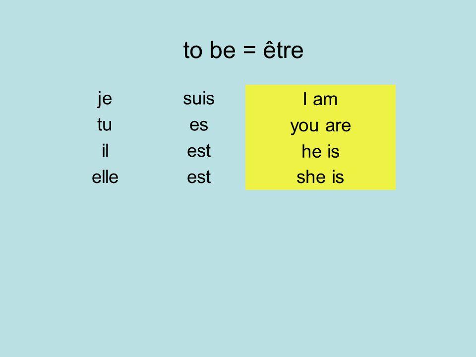 to be = être je tu il elle suis es est you are he is she is I am