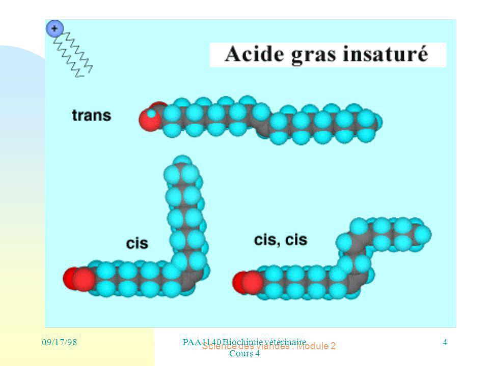 Science des viandes : Module 2 09/17/982PAA1140 Biochimie vétérinaire Cours 4 Acides gras : C2 à C22 ( C16 et C18)