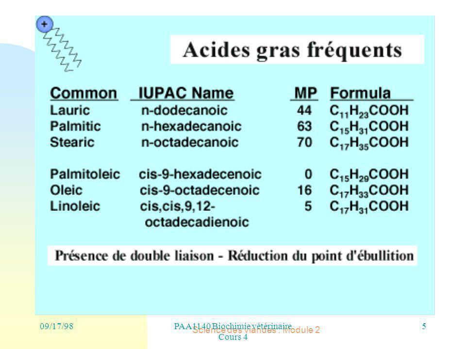 Science des viandes : Module 2 09/17/986PAA1140 Biochimie vétérinaire Cours 4
