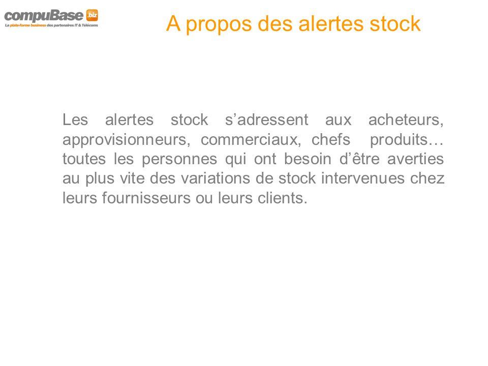A propos des alertes stock Avec les alertes Stock, vous êtes averti par e-mail lorsque de nouveaux événements apparaissent sur les références qui vous intéressent dans les catalogues grossistes.