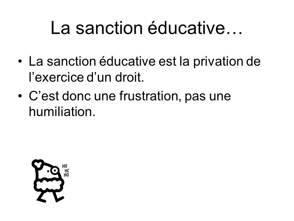 La sanction éducative… La sanction éducative est la privation de l'exercice d'un droit.