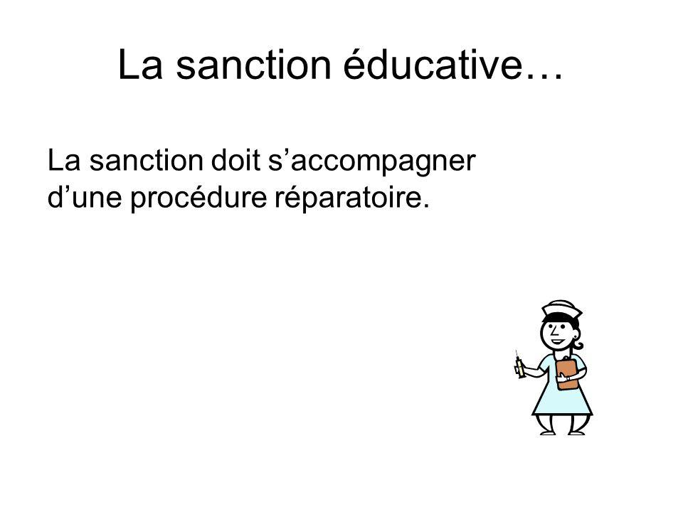 La sanction éducative… La sanction doit s'accompagner d'une procédure réparatoire.