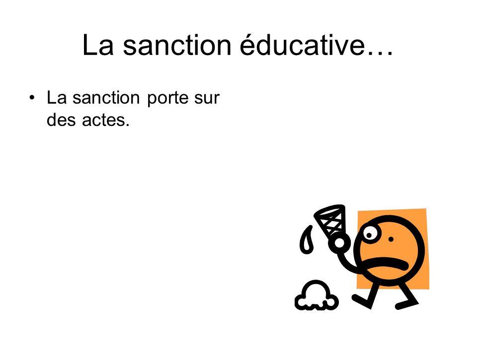 La sanction éducative… La sanction porte sur des actes.