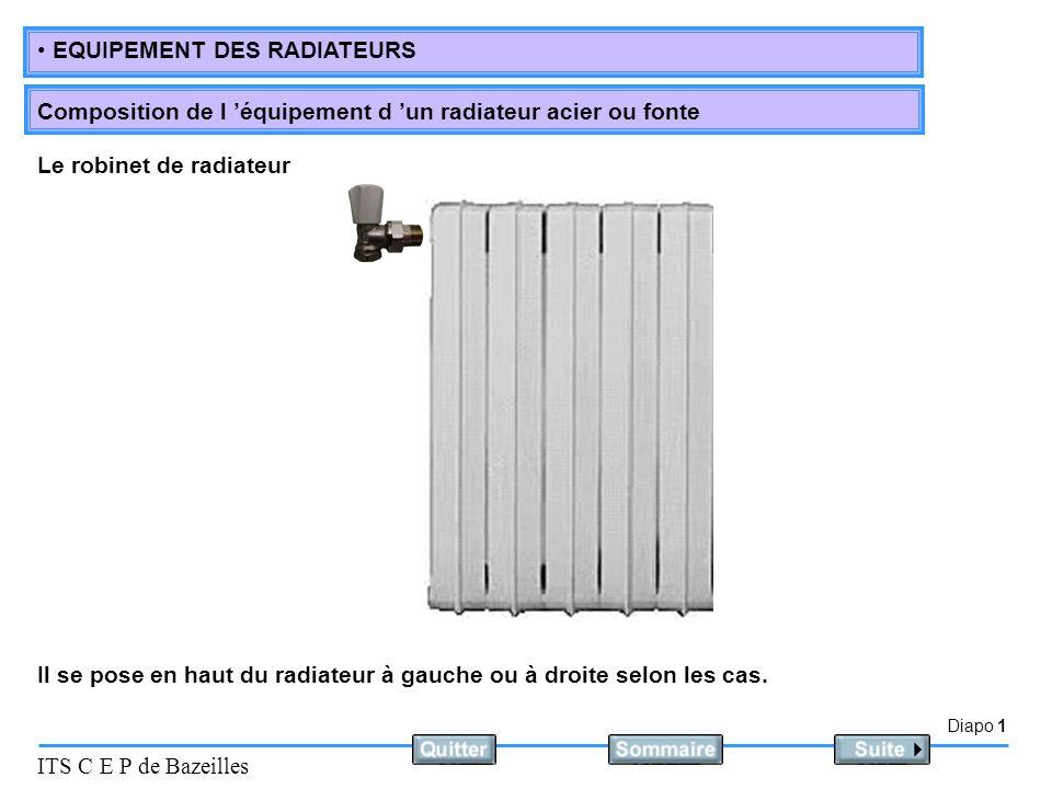 Diapo 1 ITS C E P de Bazeilles EQUIPEMENT DES RADIATEURS Composition de l 'équipement d 'un radiateur acier ou fonte Il se pose en haut du radiateur à gauche ou à droite selon les cas.