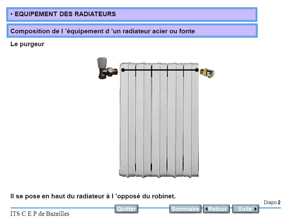 Diapo 3 ITS C E P de Bazeilles EQUIPEMENT DES RADIATEURS Composition de l 'équipement d 'un radiateur acier ou fonte Il se pose en bas du radiateur, en règle générale à l'opposé du robinet.
