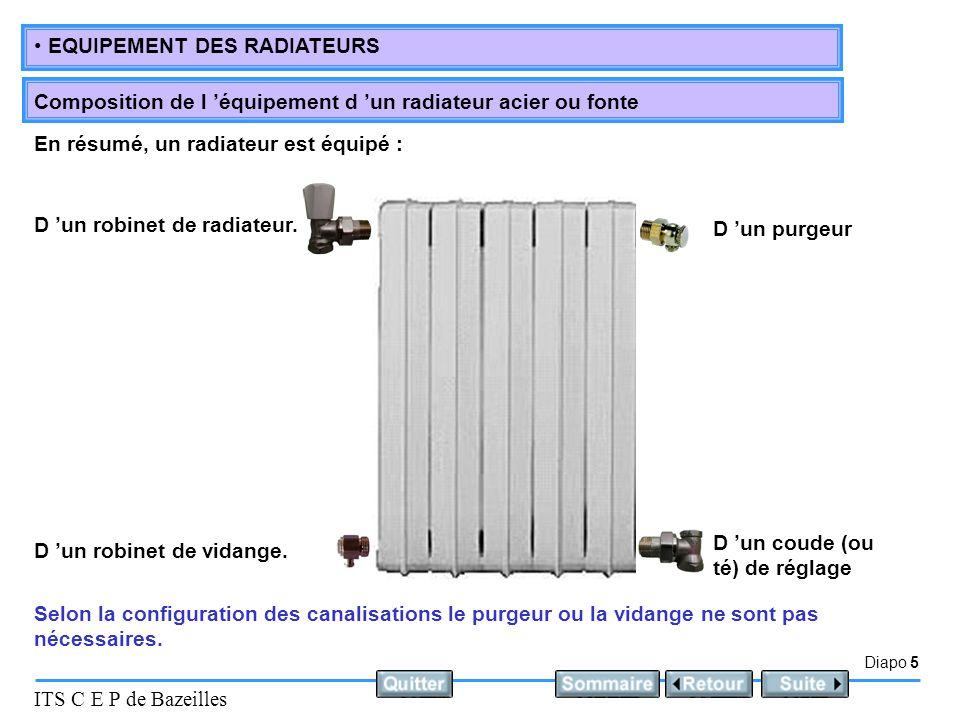 Diapo 5 ITS C E P de Bazeilles EQUIPEMENT DES RADIATEURS Composition de l 'équipement d 'un radiateur acier ou fonte Selon la configuration des canalisations le purgeur ou la vidange ne sont pas nécessaires.