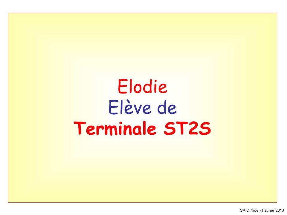 SAIO Nice - Février 2013 Elodie Elève de Terminale ST2S
