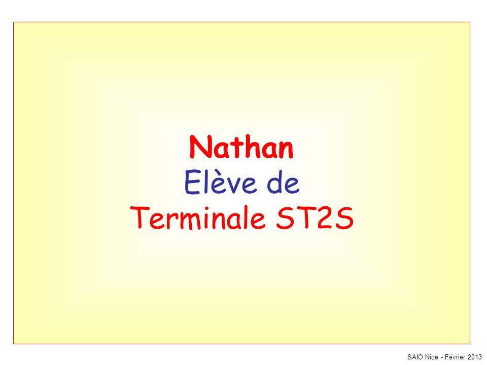 Nathan Elève de Terminale ST2S SAIO Nice - Février 2013