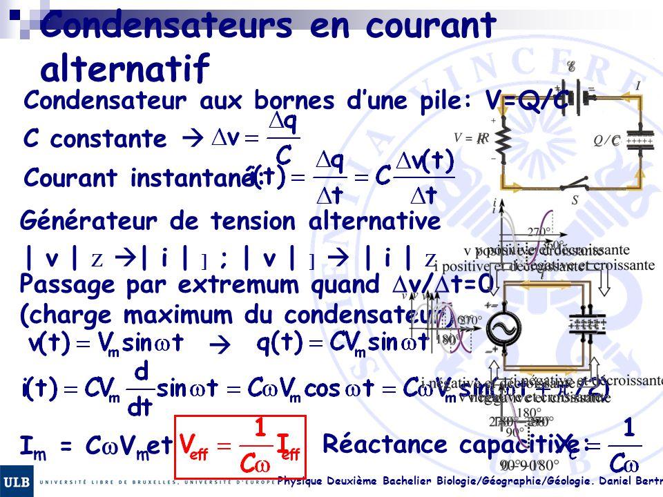 Physique Deuxième Bachelier Biologie/Géographie/Géologie. Daniel Bertrand 23.10 Condensateurs en courant alternatif Condensateur aux bornes d'une pile