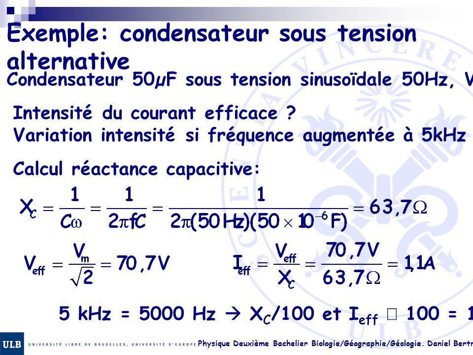 Physique Deuxième Bachelier Biologie/Géographie/Géologie. Daniel Bertrand 23.12 Exemple: condensateur sous tension alternative Condensateur 50µF sous