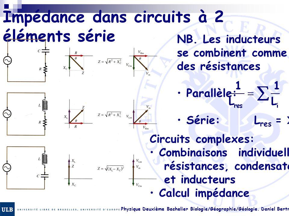 Physique Deuxième Bachelier Biologie/Géographie/Géologie. Daniel Bertrand 23.18 Impédance dans circuits à 2 éléments série NB. Les inducteurs se combi
