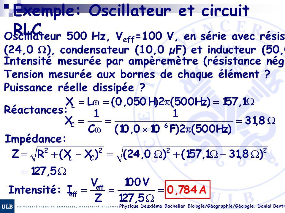 Physique Deuxième Bachelier Biologie/Géographie/Géologie. Daniel Bertrand 23.20 Exemple: Oscillateur et circuit RLC Oscillateur 500 Hz, V eff =100 V,