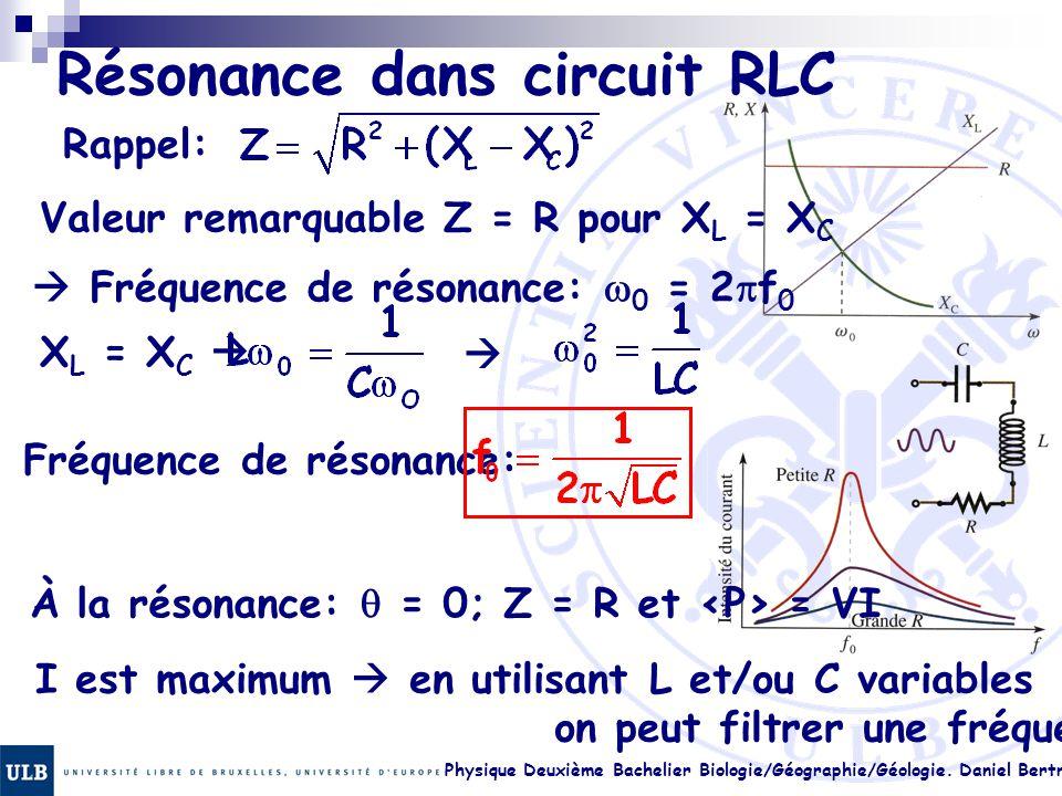 Physique Deuxième Bachelier Biologie/Géographie/Géologie. Daniel Bertrand 23.22 Résonance dans circuit RLC Rappel: Valeur remarquable Z = R pour X L =