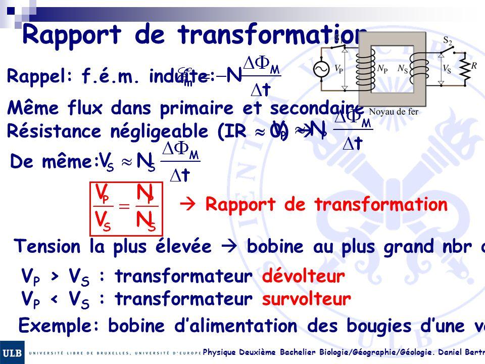 Physique Deuxième Bachelier Biologie/Géographie/Géologie. Daniel Bertrand 23.25 Rapport de transformation Rappel: f.é.m. induite: Même flux dans prima