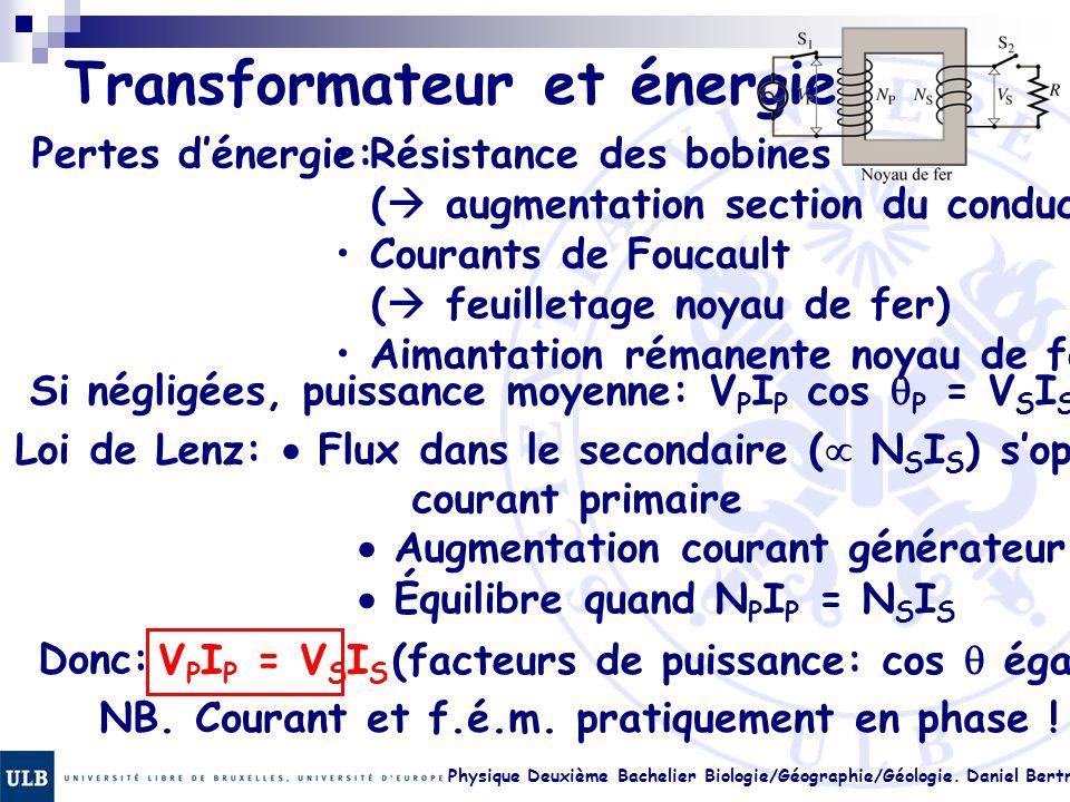 Physique Deuxième Bachelier Biologie/Géographie/Géologie. Daniel Bertrand 23.27 Transformateur et énergie Pertes d'énergie: Résistance des bobines ( 
