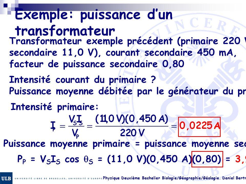 Physique Deuxième Bachelier Biologie/Géographie/Géologie. Daniel Bertrand 23.28 Exemple: puissance d'un transformateur Transformateur exemple précéden