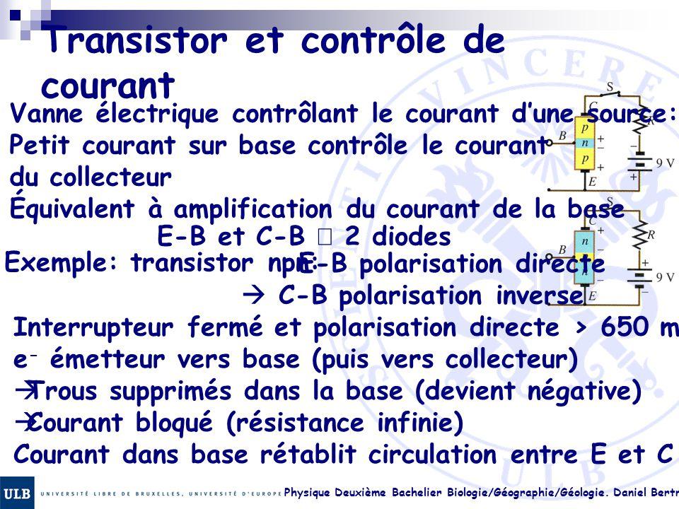 Physique Deuxième Bachelier Biologie/Géographie/Géologie. Daniel Bertrand 23.34 Transistor et contrôle de courant Vanne électrique contrôlant le coura