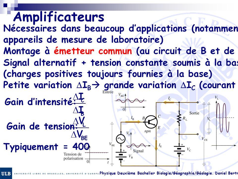 Physique Deuxième Bachelier Biologie/Géographie/Géologie. Daniel Bertrand 23.36 Amplificateurs Nécessaires dans beaucoup d'applications (notamment app