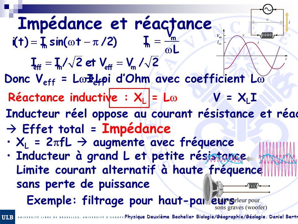Physique Deuxième Bachelier Biologie/Géographie/Géologie. Daniel Bertrand 23.7 Impédance et réactance Donc V eff = L  I eff  Loi d'Ohm avec coeffici