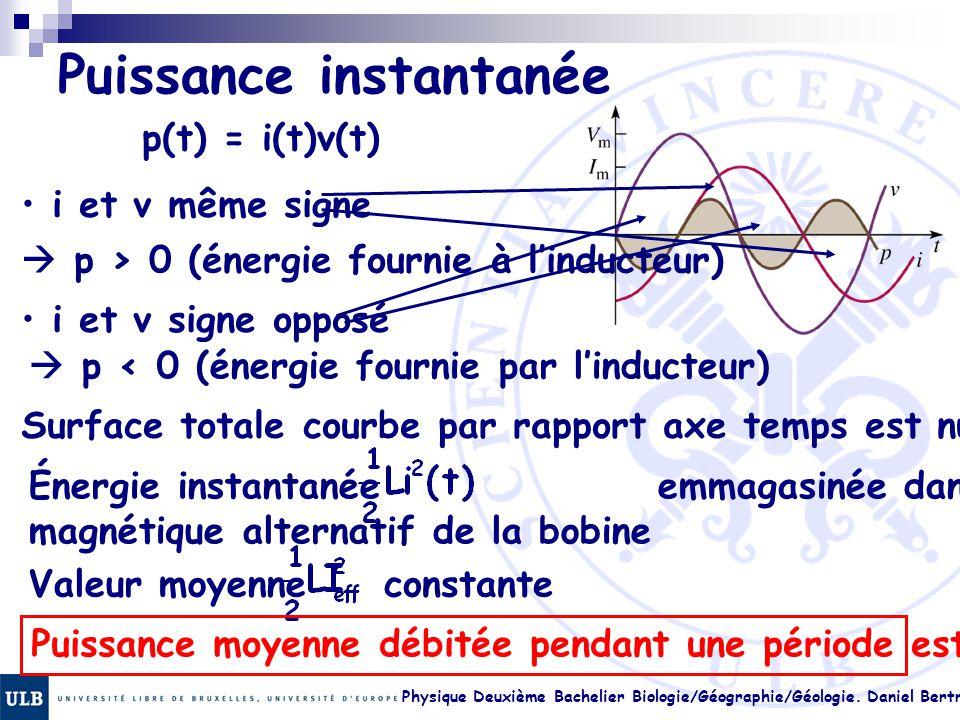 Physique Deuxième Bachelier Biologie/Géographie/Géologie. Daniel Bertrand 23.8 Puissance instantanée p(t) = i(t)v(t) i et v même signe  p > 0 (énergi