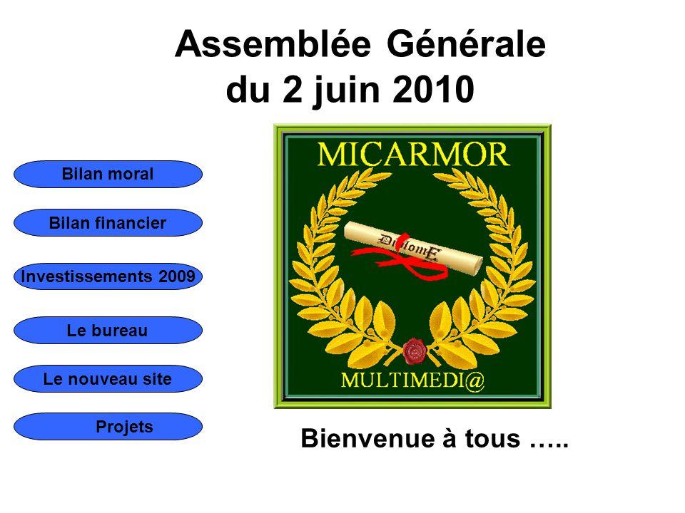 Bilan moral Bilan financier Le bureau Le nouveau site Investissements 2009 Projets Assemblée Générale du 2 juin 2010 Bienvenue à tous …..