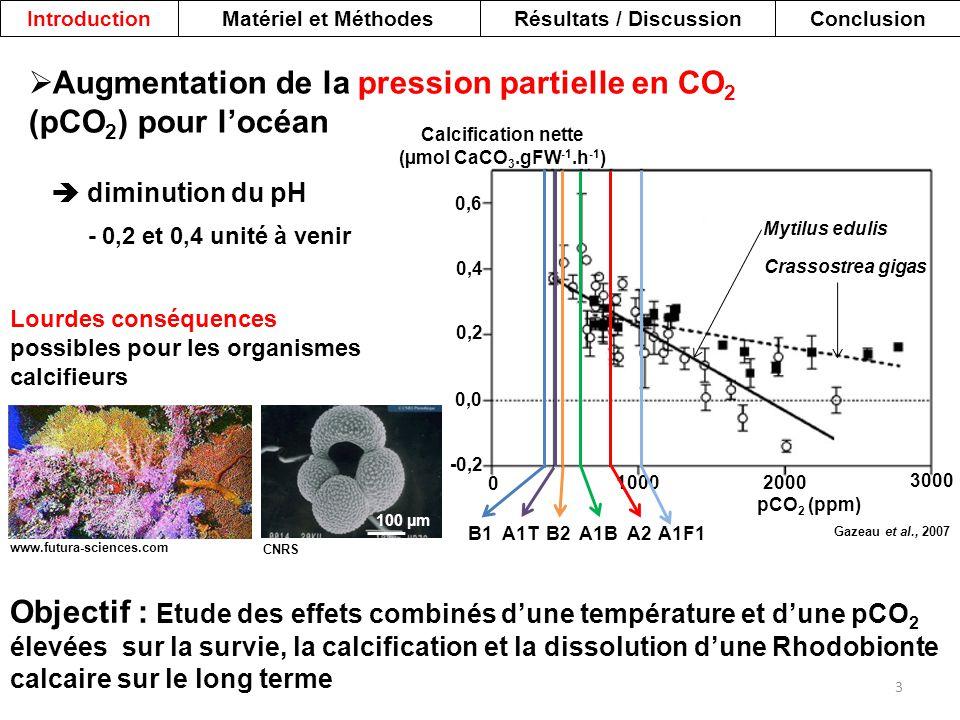  diminution du pH Lourdes conséquences possibles pour les organismes calcifieurs  Augmentation de la pression partielle en CO 2 (pCO 2 ) pour l'océa