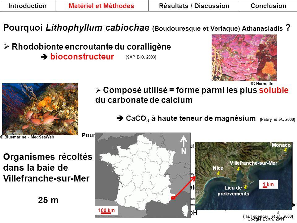 (Hall-spencer et al., 2008) Pourcentage de couverture en MPOs 0 20 40 60 80 100 pH 8,147,836,57 MPOs calcaires MPOs non calcaires 100 km Nice Villefra