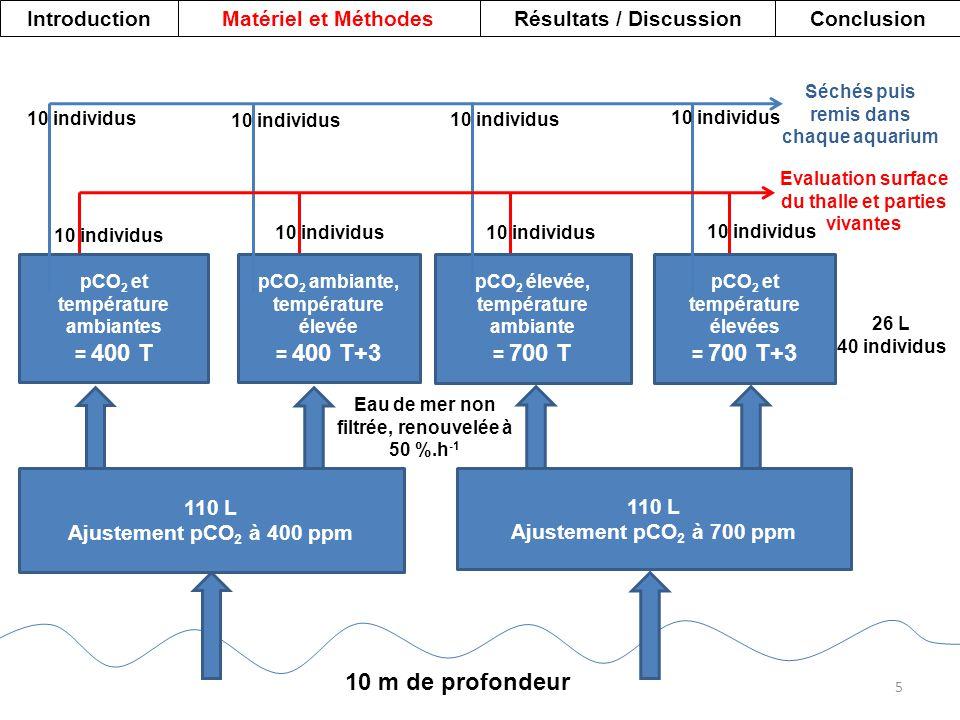 110 L Ajustement pCO 2 à 400 ppm pCO 2 et température ambiantes = 400 T pCO 2 ambiante, température élevée = 400 T+3 110 L Ajustement pCO 2 à 700 ppm