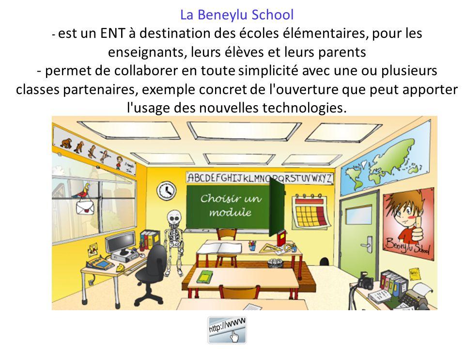 La Beneylu School - est un ENT à destination des écoles élémentaires, pour les enseignants, leurs élèves et leurs parents - permet de collaborer en toute simplicité avec une ou plusieurs classes partenaires, exemple concret de l ouverture que peut apporter l usage des nouvelles technologies.