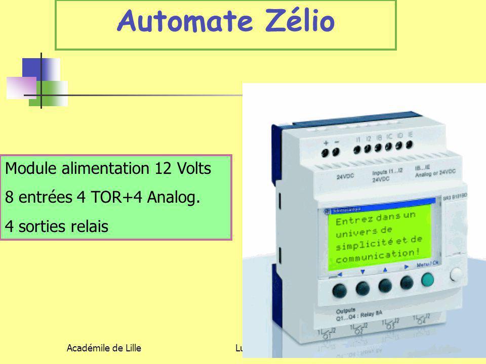 Académile de LilleLuc DEGUILLAGE6 Automate Zélio Module alimentation 12 Volts 8 entrées 4 TOR+4 Analog. 4 sorties relais