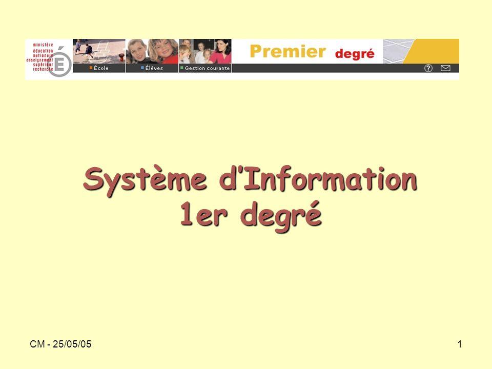 CM - 25/05/051 Système d'Information 1er degré