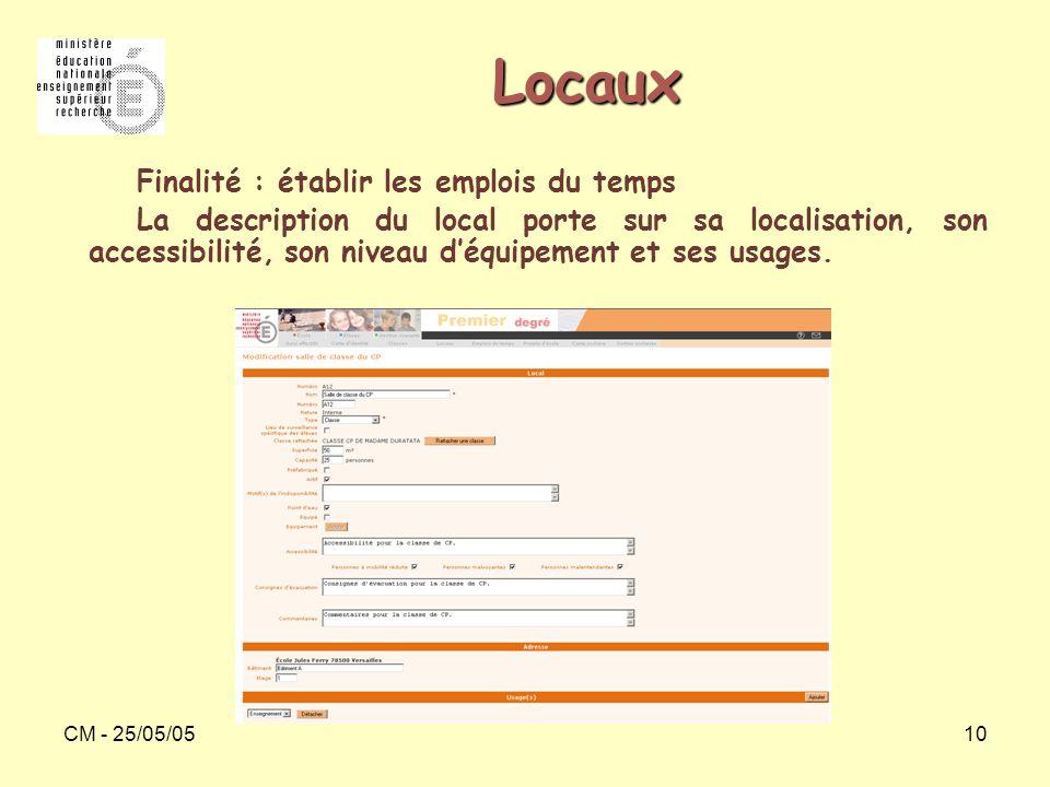 CM - 25/05/0510 Locaux Finalité : établir les emplois du temps La description du local porte sur sa localisation, son accessibilité, son niveau d'équi