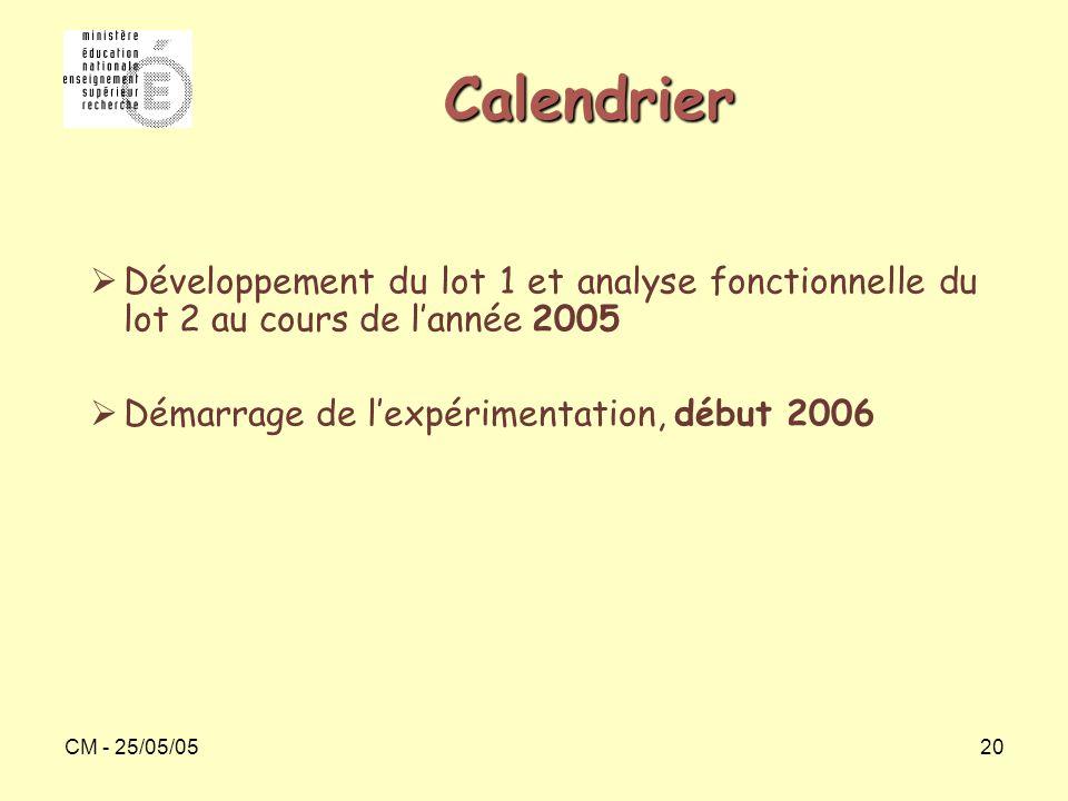 CM - 25/05/0520 Calendrier  Développement du lot 1 et analyse fonctionnelle du lot 2 au cours de l'année 2005  Démarrage de l'expérimentation, début