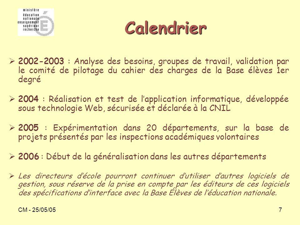 CM - 25/05/057 Calendrier  2002-2003 : Analyse des besoins, groupes de travail, validation par le comité de pilotage du cahier des charges de la Base