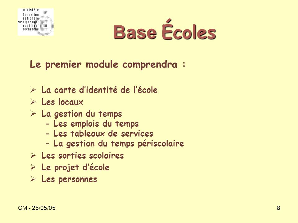 CM - 25/05/0519 Base Écoles (2)  Les incidents  Les remplacements  Les carnets d'adresses  L'inventaire des biens  Les tableaux de bord Le second module comprendra :