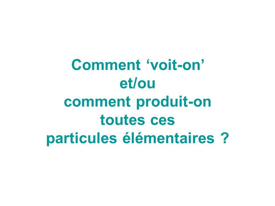 Comment 'voit-on' et/ou comment produit-on toutes ces particules élémentaires ?
