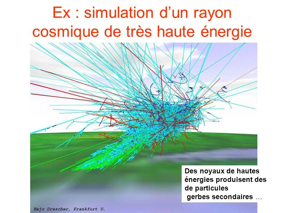 Ex : simulation d'un rayon cosmique de très haute énergie Des noyaux de hautes énergies produisent des de particules gerbes secondaires …