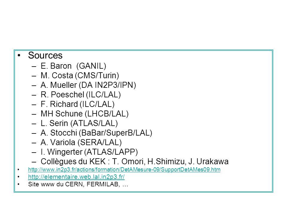 Sources –E. Baron (GANIL) –M. Costa (CMS/Turin) –A. Mueller (DA IN2P3/IPN) –R. Poeschel (ILC/LAL) –F. Richard (ILC/LAL) –MH Schune (LHCB/LAL) –L. Seri