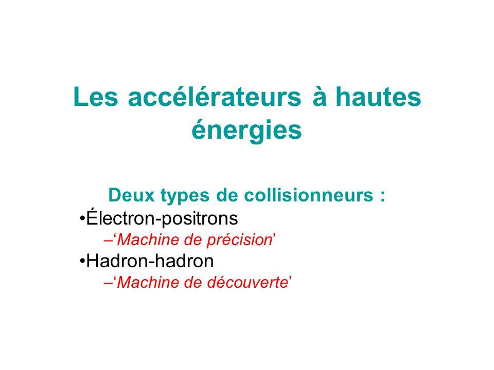 Les accélérateurs à hautes énergies Deux types de collisionneurs : Électron-positrons –'Machine de précision' Hadron-hadron –'Machine de découverte'