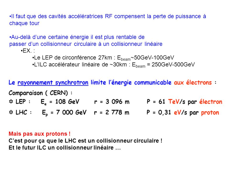 Il faut que des cavités accélératrices RF compensent la perte de puissance à chaque tour Au-delà d'une certaine énergie il est plus rentable de passer d'un collisionneur circulaire à un collisionneur linéaire EX.