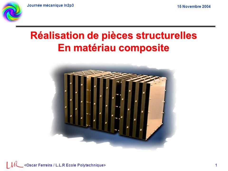 Journée mécanique In2p3 1 15 Novembre 2004 Réalisation de pièces structurelles En matériau composite