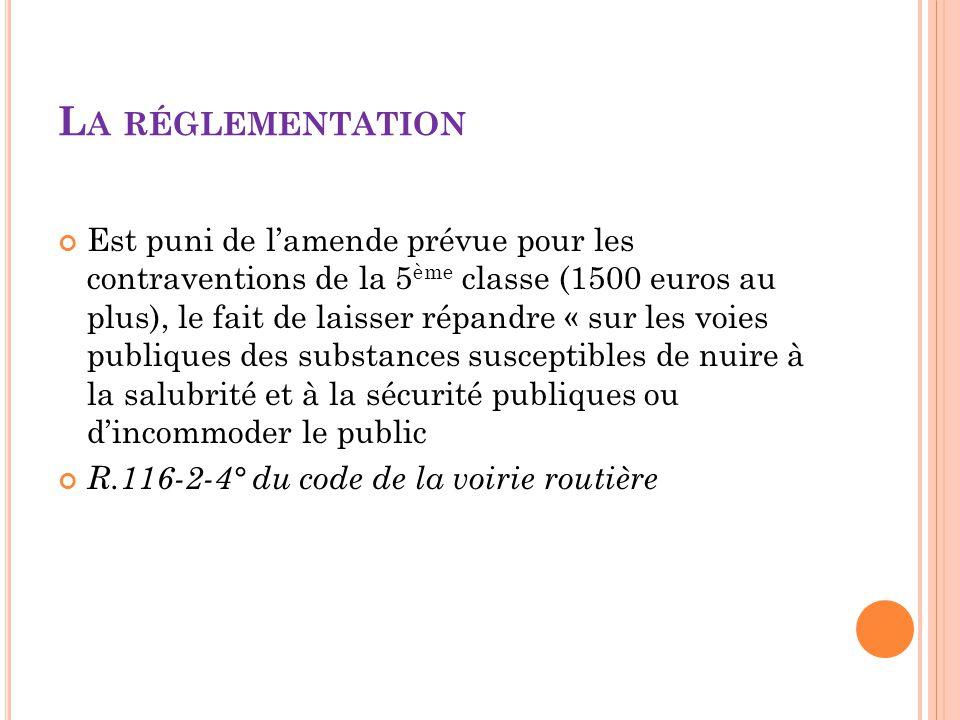 L A RÉGLEMENTATION Est puni de l'amende prévue pour les contraventions de la 5 ème classe (1500 euros au plus), le fait de laisser répandre « sur les