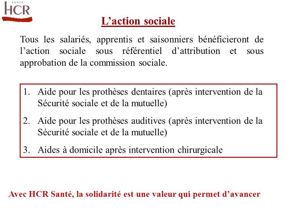 L'action sociale 1.Aide pour les prothèses dentaires (après intervention de la Sécurité sociale et de la mutuelle) 2.Aide pour les prothèses auditives